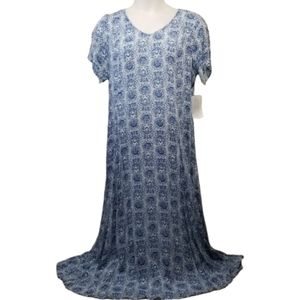 Woman Within M Dress Blue Floral Maxi Crinkle